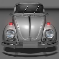 3d beetle small vintage car