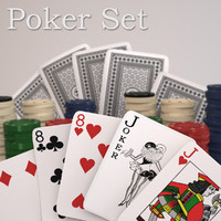 3d playing cards poker chips