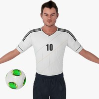 soccer player character rigging 3d model