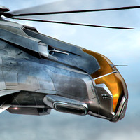 3d model helicopter futuristic military