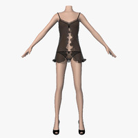 3d 3ds peignoir black female