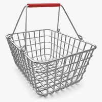 3d model shopping basket chrome v2