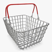 3d shopping basket chrome v1