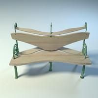 3d benches park garden model
