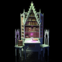 3d model of library table medieval