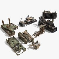 3d ruins destroyed buildings rubble model