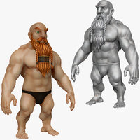 3d model strong warrior dwarf beard