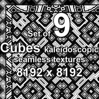 Cubes Kaleidoscopic 9x Seamless Textures, set #2