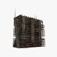 abandoned ruined building destroyed 3d model