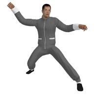 rigged martial artist man 3d model