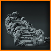 3d stairs stone model