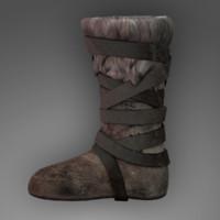 3d fur boot medieval model