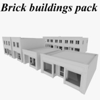 3d pack brick buildings stores model