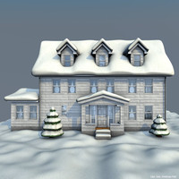 house winter 3d c4d