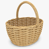 realistic wicker basket honey obj