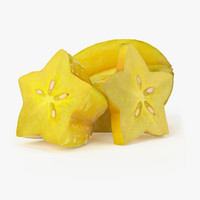 3d model of realistic starfruit real fruit