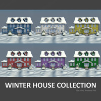 3d model set houses winter