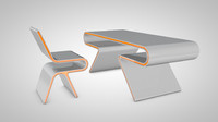 c4d futuristic table chair
