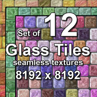 Glass Tiles 12x Seamless Textures, set #2