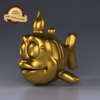 gold fish golden 3d model