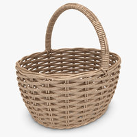 wicker basket antique brown 3d max