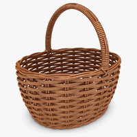 3d model realistic wicker basket cherry