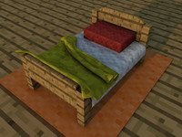 minecraft bed craft 3d model