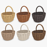 wicker basket set 6 3d 3ds