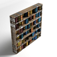 3d old bookshelf books