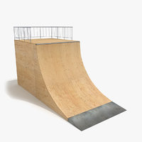 skate ramp quarter pipe 3d model