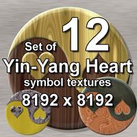Yin-yang Heart Symbol 12x Textures