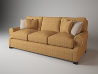 Baker 829-90 rolled arm sofa