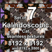 Kaleidoscopic Cat 7x Seamless Textures, set #9
