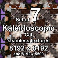 Kaleidoscopic Cat 7x Seamless Textures, set #9