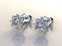 earrings diamonds princess 3dm