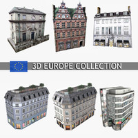 3d model photorealistic european buildings city