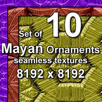 Mayan Ornaments 10x Seamless Textures, set #3