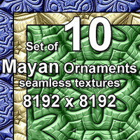 Mayan Ornaments 10x Seamless Textures, set #1