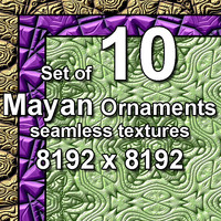 Mayan Ornaments 10x Seamless Textures, set #2