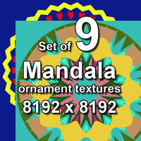 Mandala Ornament 9x Textures, set #3