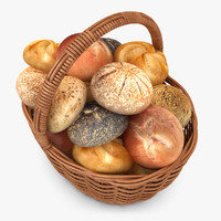 realistic wicker basket roll 3d model