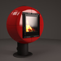 3d fireplace nordica fireball bianco model