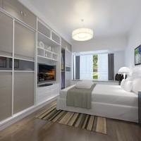 bedroom bed modern 3d model