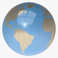 3ds puzzle earth globe