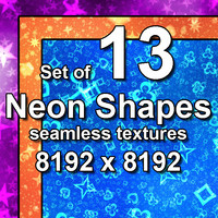 Neon Shape Symbols 13x Seamless Textures, set #2