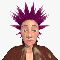 3d realistically punk jill female character