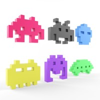 3d space invaders character