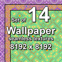 Wallpaper Cubic Floral 14x Seamless Textures, set #1