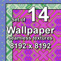 Wallpaper Cubic Floral 14x Seamless Textures, set #2