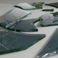 3d model broken glass pieces